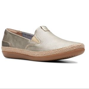 Clark's Champagne Danelly Iris Leather Espadrilles
